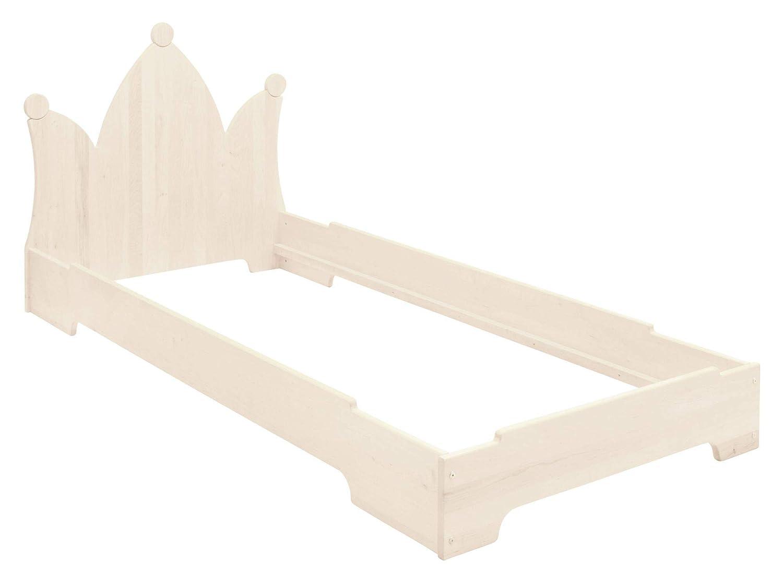 BioKinder Kai Stapelbett Stapelliege Gästebett mit Kopfteil Krone aus Massivholz Kiefer 90 x 200 cm weiß lasiert
