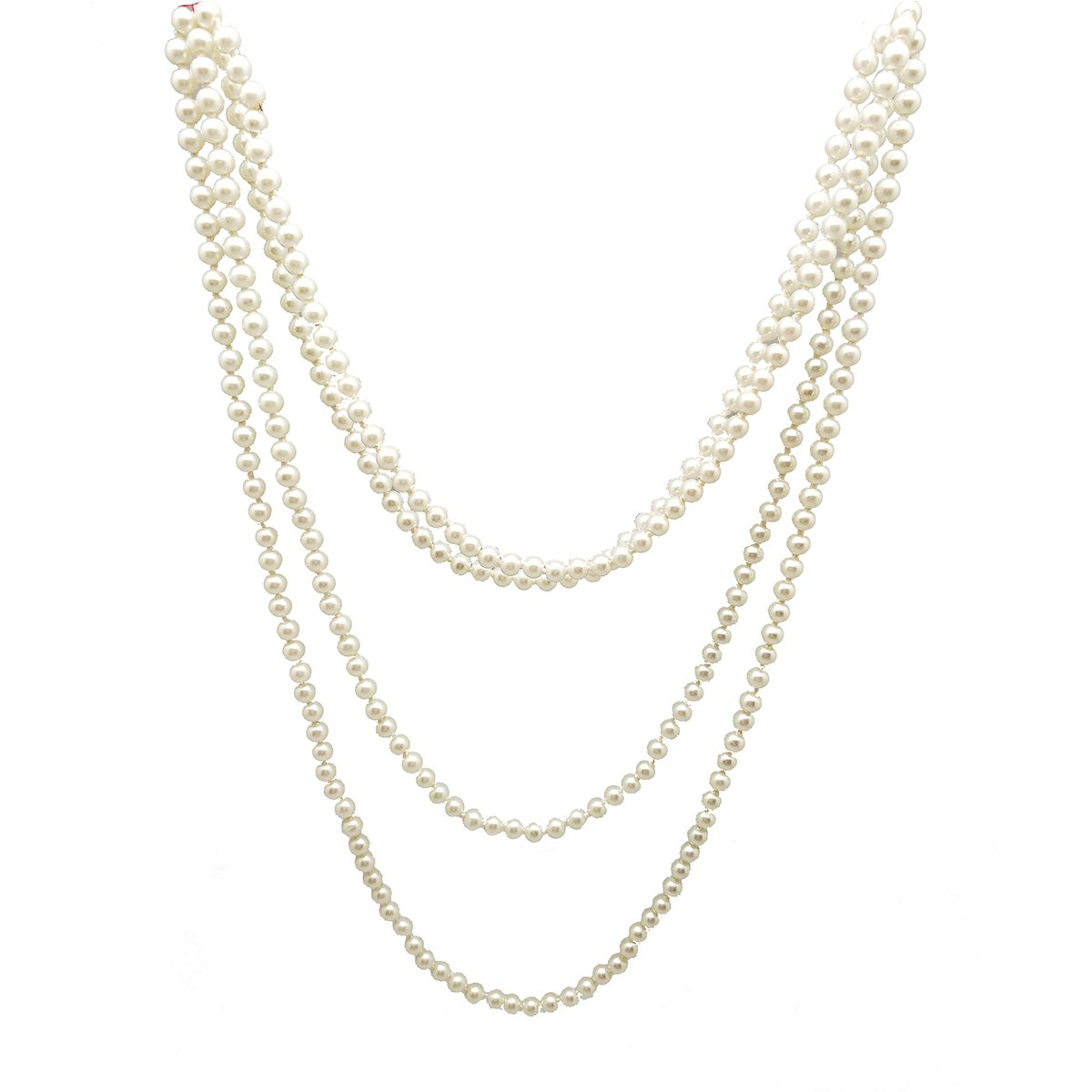 We We Women's White Black Grey Multilayer Long Imitation Pearl Strands Necklace, 59'' 59'' (White 5mm Bead 73'') We We 2 W01