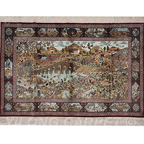 Yilong 5'x3' 700Lines Handmade Silk on Silk Persian Rugs Pictorial Oriental Carpet Artworks - Persian Silk Tapestry
