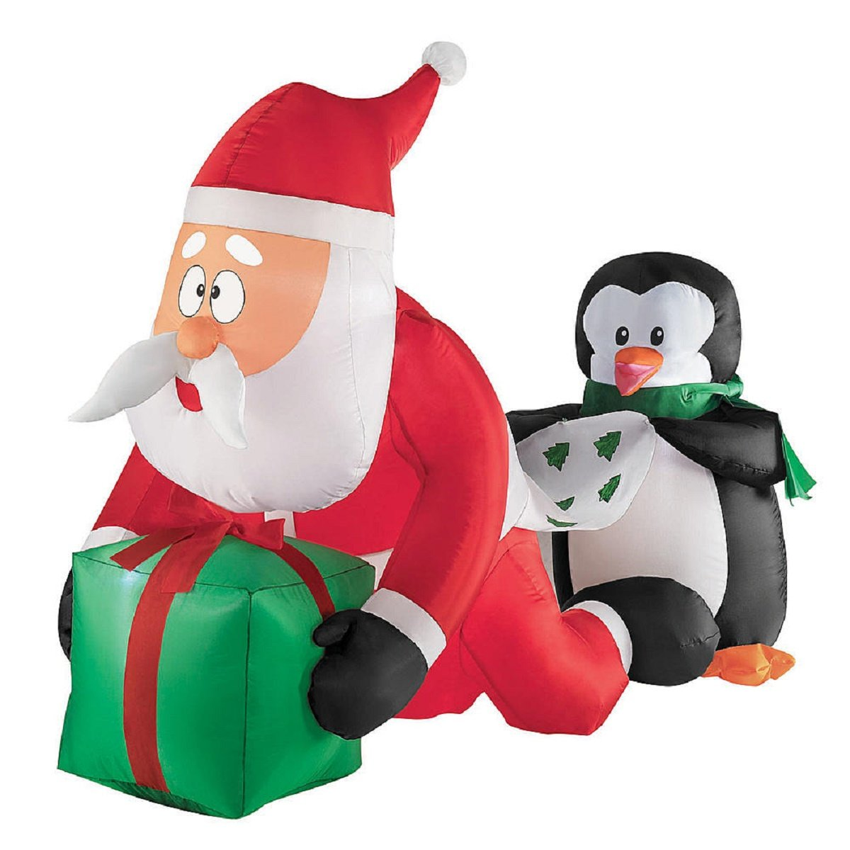 amazoncom christmas inflatable 4 whimsical santa and penguin scene by gemmy garden outdoor - Inflatable Christmas
