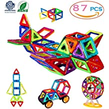 [Patrocinado] Bloques Magnéticos, 3d bloques de construcción Juguetes Set 87PCS, magnético, azulejos, juguetes educativos para Bebé/Niños (ASTM y RoHS Certificación)