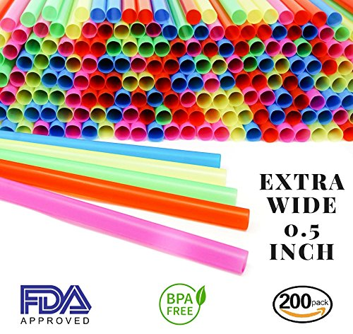 Smoothie boba jumbo straws extra wide thick fat big long large neon colored disposable plastic drinking giant straws bulk for milkshake cocktail kids party pack of 200 - 1/2