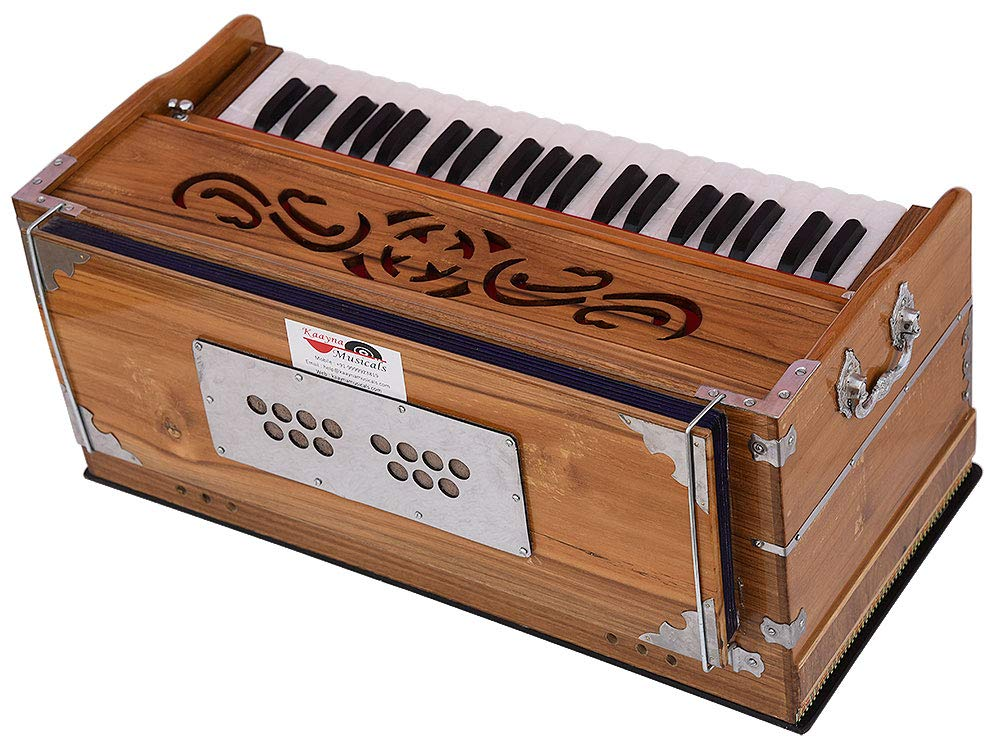 Harmonium Teak Wood By Kaayna Musicals, 11 Stops- 6 Main & 5 Drone, 3½ Octaves, Coupler, Natural Wood Color, Gig Bag, Bass/Male Reed- 440 Hz, Best for Yoga, Bhajan, Kirtan, Shruti, Mantra, etc by Kaayna Musicals (Image #8)