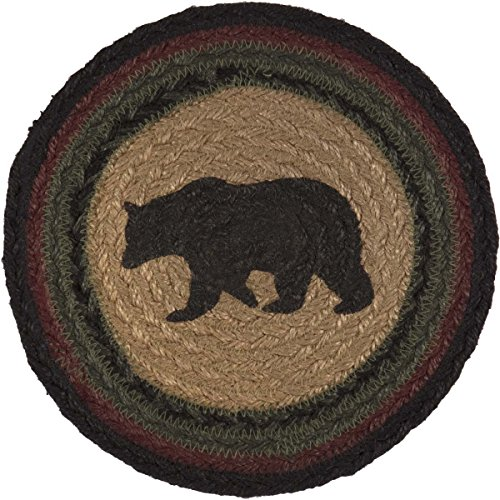 Braided Round Trivets - VHC Brands Rustic & Lodge Tabletop & Kitchen - Wyatt Tan Bear Jute Trivet, Red