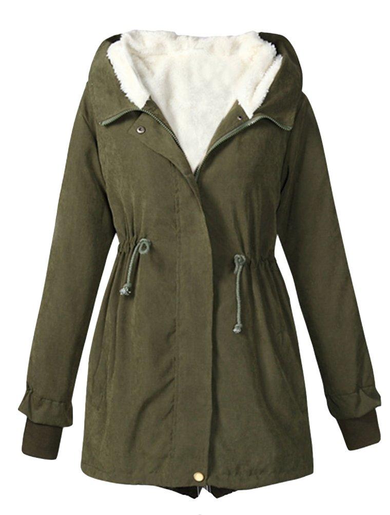 MatchLife Femme Manteau d'hiver avec Capuche Parka Encapuchonnée Intérieur Polaire