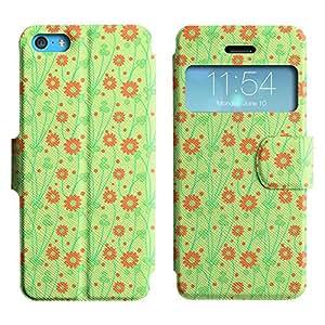 Be-Star Diseño Impreso Colorido Slim Casa Carcasa Funda Case PU Cuero - Stand Function para Apple iPhone 5c ( Orange Flower )