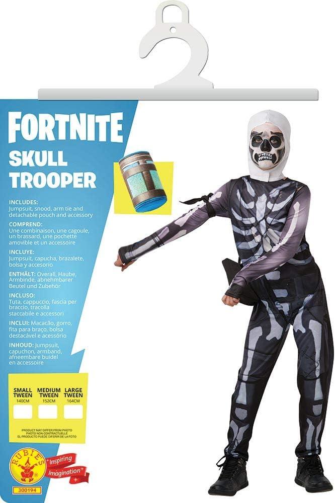 Rubies 300194-TW Fortnite - Disfraz Skull Trooper para niños, 11 ...