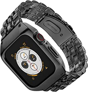 EloBeth Compatible with Apple Watch Band 44mm Series 4/5/6/SE with Case, Stainless Steel iWatch 44mm Bands with Protective Cover for Apple Watch SE & Apple Watch Series 6/5/4 44mm (Black/Black)