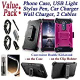 Value Pack Cables Chargers + for 6' ZTE ZMAX PRO CARRY KIRK Case Holster Phone Case Belt Clip 2 Kick Stands Hybrid Armor Rugged Shock Bumper Cover (Pink)