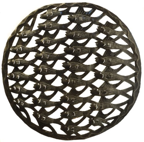 Le Primitif Galleries Haitian Recycled Steel Oil Drum Outdoor Decor, 17.5 by 17.5-Inch, School of Fish