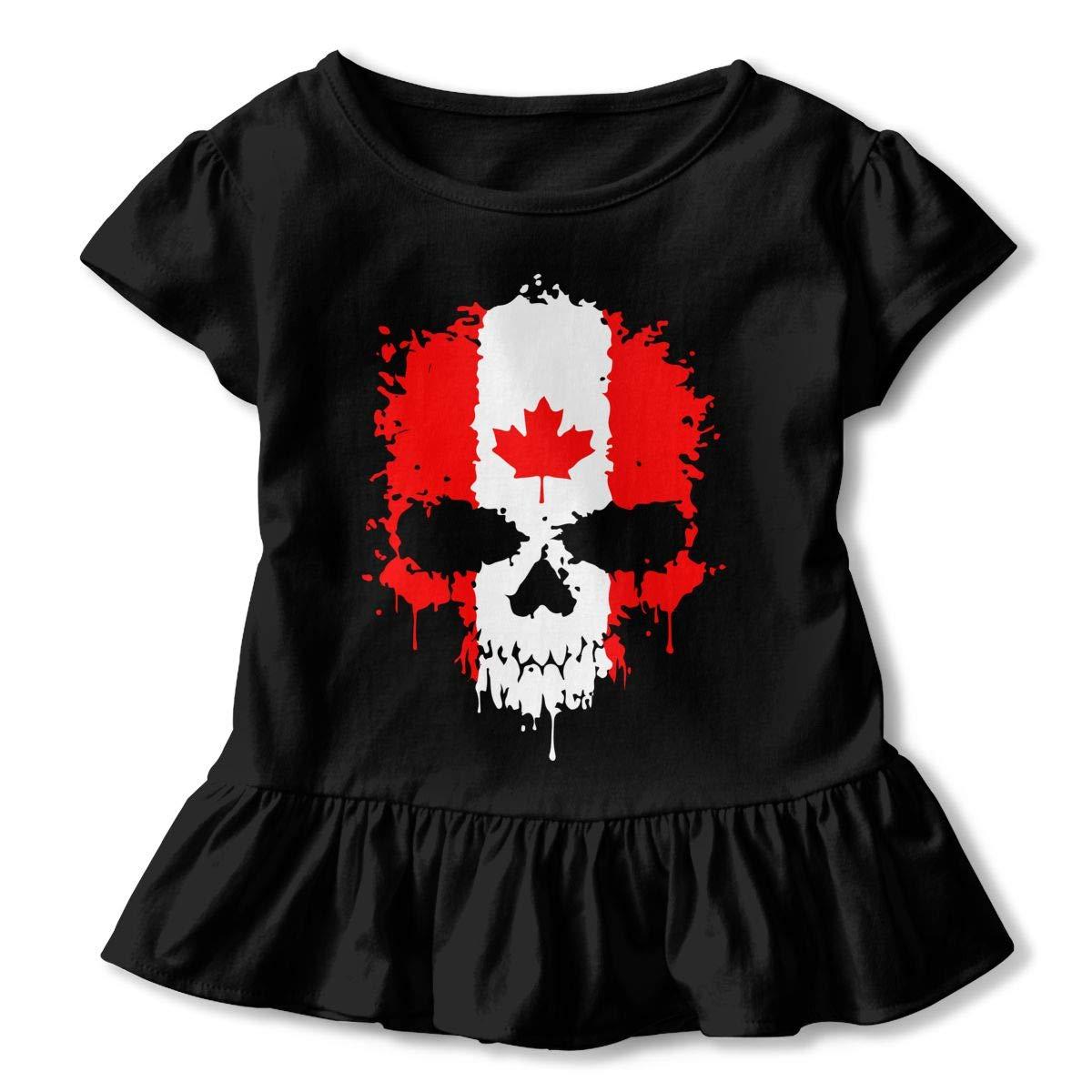 Canadian Flag Skull Kids Girls Short Sleeve T Shirts Ruffles Shirt Tee for 2-6T