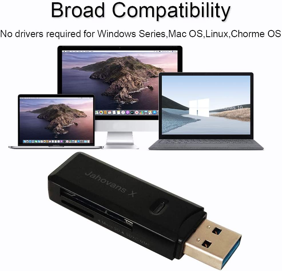 USB 3.0 SD Card Reader for PC, Laptop, Mac, Windows, Linux, Chrome, SDXC, SDHC, SD, MMC, RS-MMC, Micro SDXC Micro SD, Micro SDHC Card and UHS-I Cards(Black): Computers & Accessories
