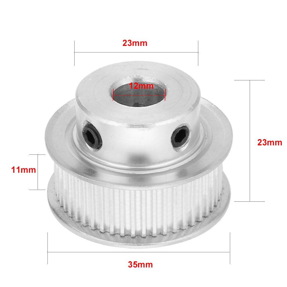 sourcingmap Aluminum MXL 30 Teeth 10mm Bore Timing Belt Pulley Synchronous Wheel Silver Tone for 6mm Belt 3D Printer CNC