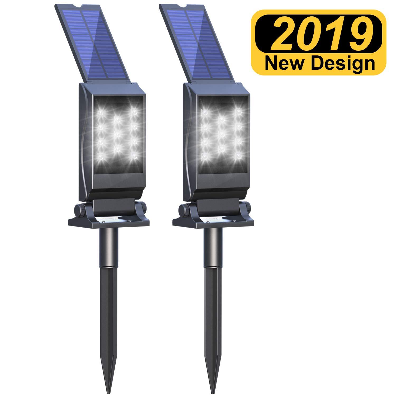 Flowmist Solar Spotlight, 11 LED Bulbs Waterproof Solar Landscape Light Solar Lights Outdoor, Auto On/Off for Patio Pool Yard, Driveway'(2Pack)