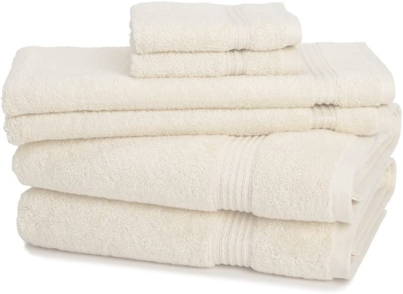 6-Piece 600GSM Egyptian Cotton Towel Set 6 Piece Medium Weight /& Absorbent by ExceptionalSheets Ivory