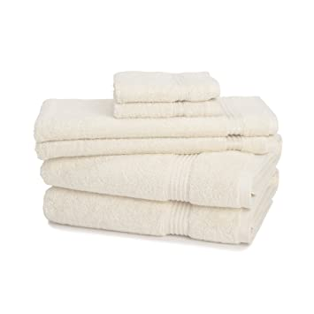 Juego de toallas de 6 piezas 100 % algodón egipcio con 600 GMC de ExceptionalSheets, marfil: Amazon.es: Hogar