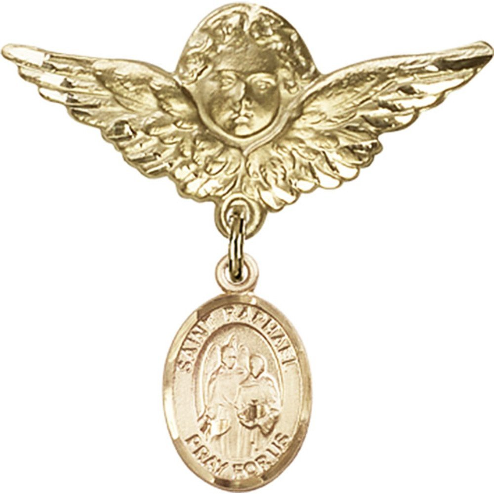 14kt Yellow Gold Baby Badge with St. Raphael the Archangel Charm and Angel w/Wings Badge Pin 1 1/8 X 1 1/8 inches by Bonyak Jewelry Saint Medal Collection (Image #1)