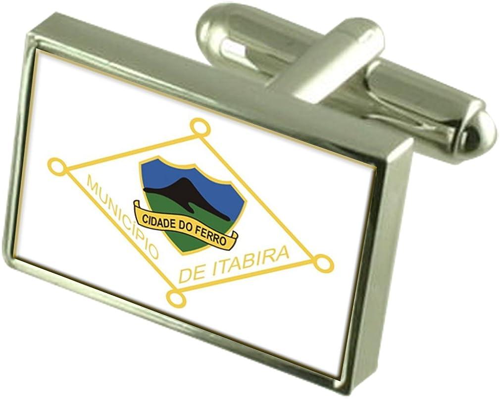 Itabira City Minas Gerais State Sterling Silver Flag Cufflinks Engraved Box