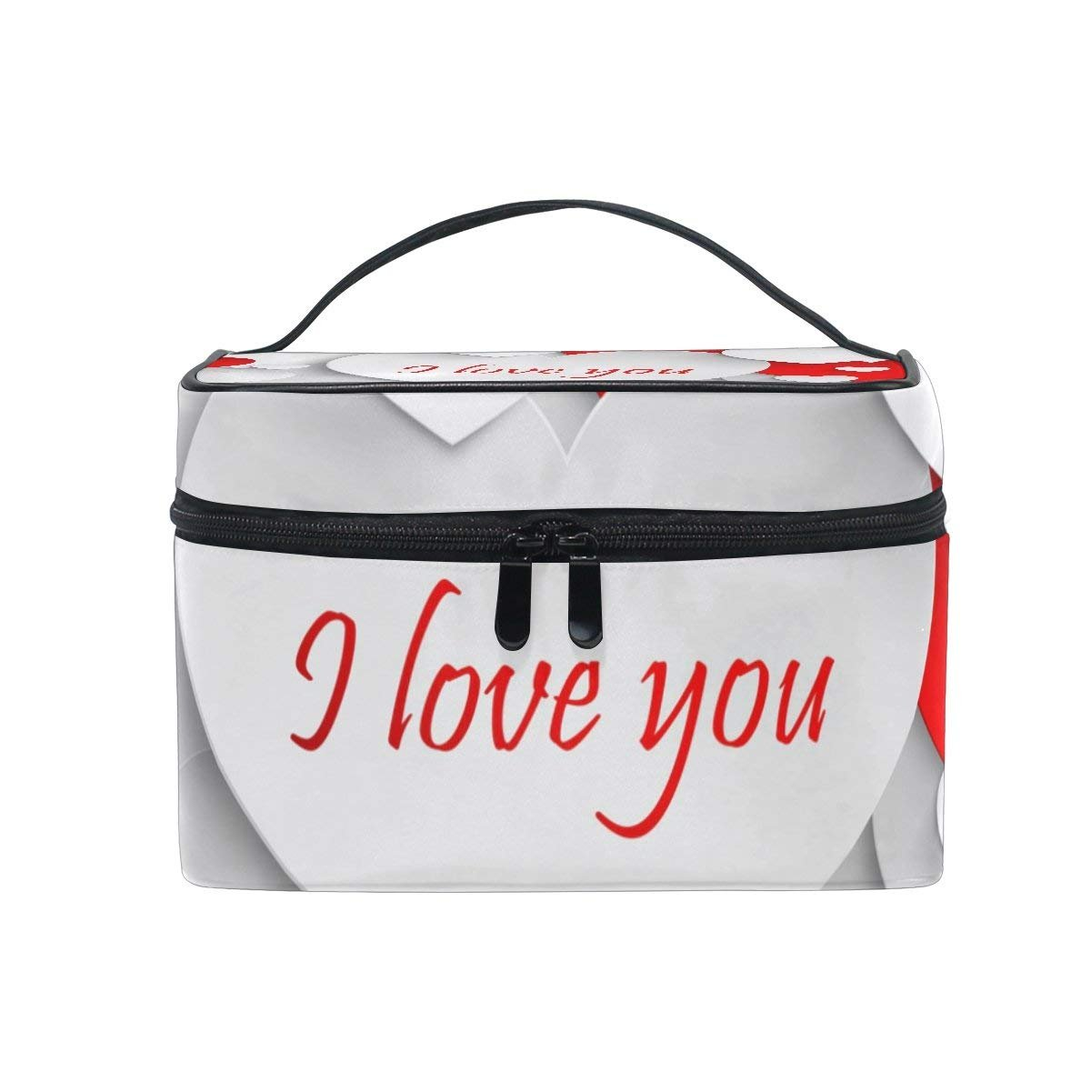 Makeup Bag I Love You Mens Travel Toiletry Bag Mens Cosmetic Bags for Women Fun Large Makeup Organizer