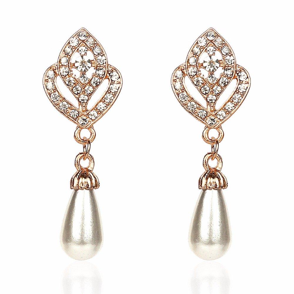LIGHTMOON Gold Plated Pearl Stud Dangle bridal Drop Earring for Women