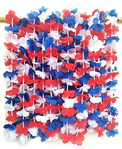 LITTLE FEATHER Red White and Blue 4th of July Party Lei Hawaiian Luau Flower Necklace Party Favors,Pack of -