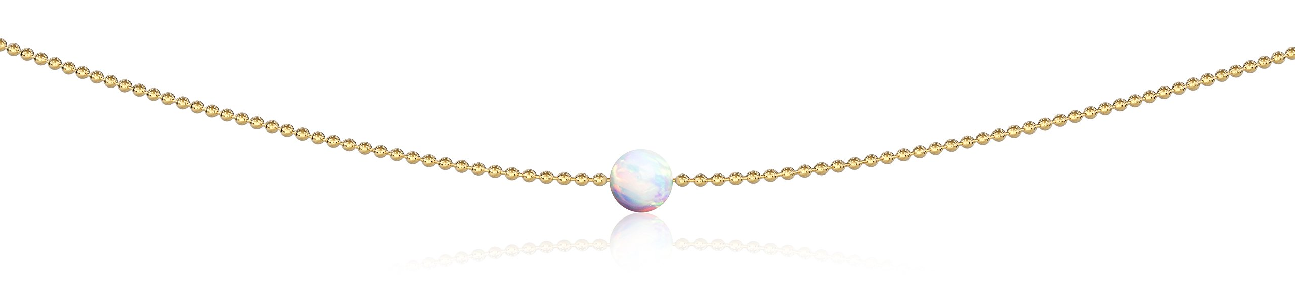 Benevolence LA Opal Choker Pendant Necklace: Jewelry for Woman Teens Girls The Inspire October Birthstone White Opal 14k Gold Dipped 13 Inch Ball Chain