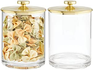 mDesign Modern Round Kitchen Countertop Storage Organizer Canister Jar for Sugar, Flour, Tea, Coffee, Spices, Candy, and Beans - Large, 2 Pack - Clear/Soft Brass