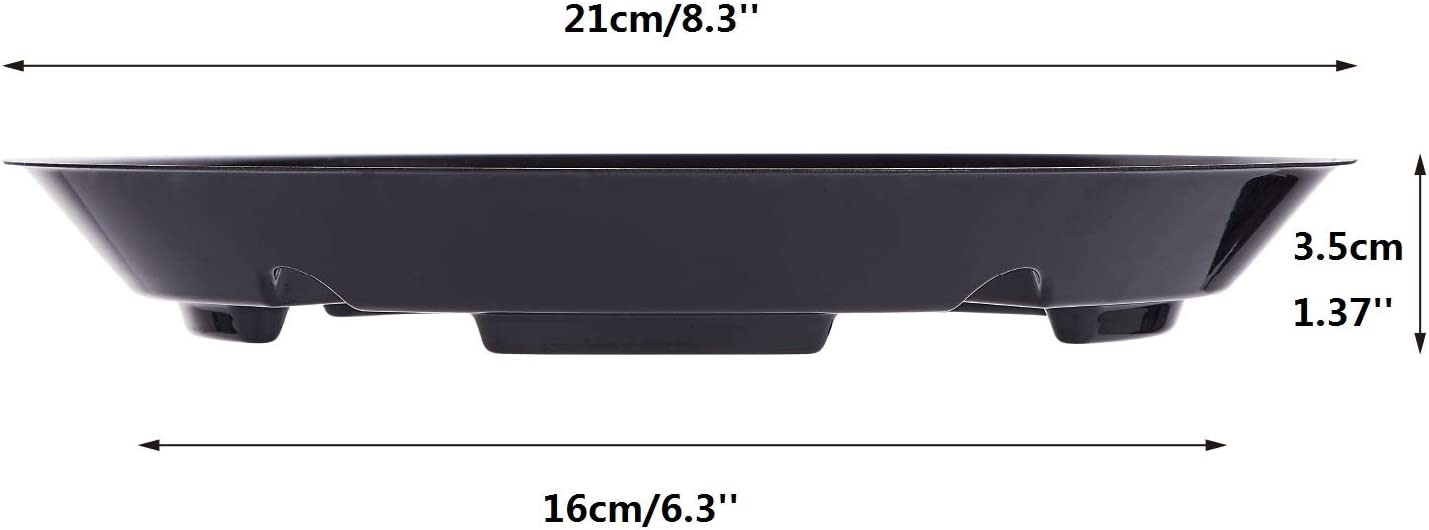 10 OAKBAY 5 Pieces of 10 Inch Black Thick Plastic Heavy Duty Plant Saucer Drip Tray for Pots