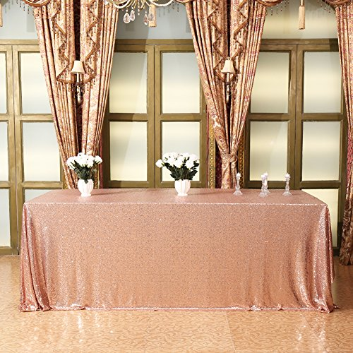 Eternal Beauty 50'' x 80'' Champagne Rectangular Sequin Tablecloth Shiny Sequins for Christmas/Party/Wedding/Birthday/New Year and Other Happy Moments (Champagne Blush)