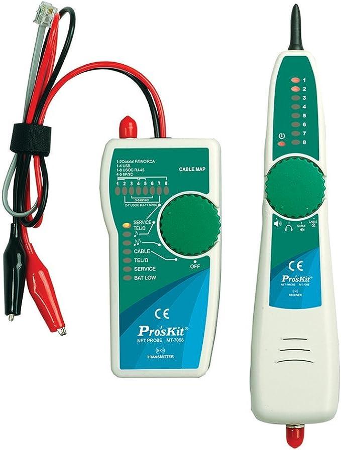 Pro Skit Mt 7068 All In One Toner Sonde Kit Rj11 Rj45 Bnc Netzwerk Telefon Kabel Tracker Tester Line Finder Mit Niedriger Batterie Anzeige Für Ethernet Service Erkennung Und Polarität Validierung Auto