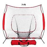 ZENY 7'×7' Baseball Softball Practice Net Hitting Batting Training Net w/Carry Bag & Metal Bow Frame, Rubber Feet