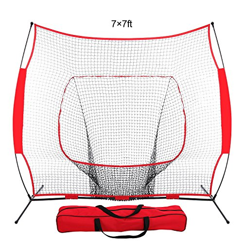 Batting Practice Net - ZENY 7'×7' Baseball Softball Practice Net Hitting Batting Training Net w/Carry Bag & Metal Bow Frame, Rubber Feet