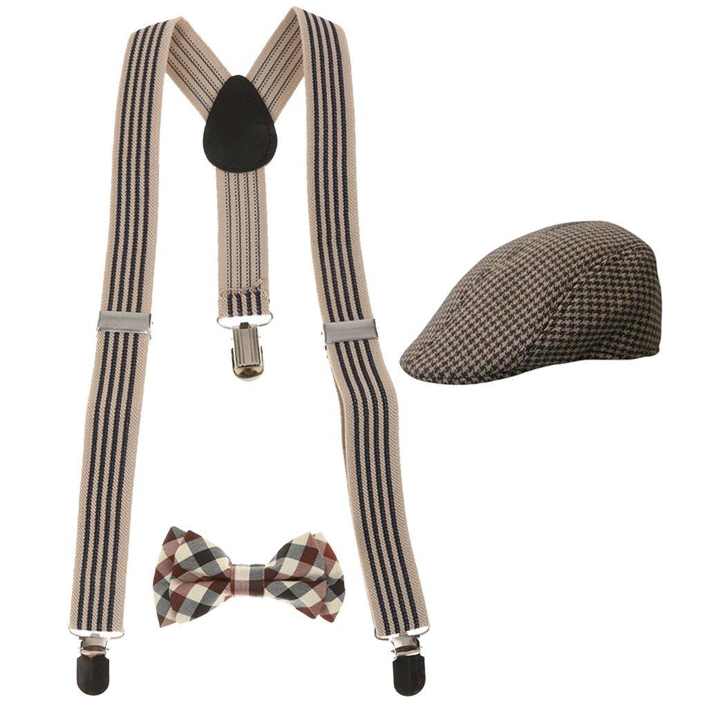 Baoblaze Ensemble Y-Dos Ceinture Jarretière + Cravate + Casquette De Béret Vêtement Garçons