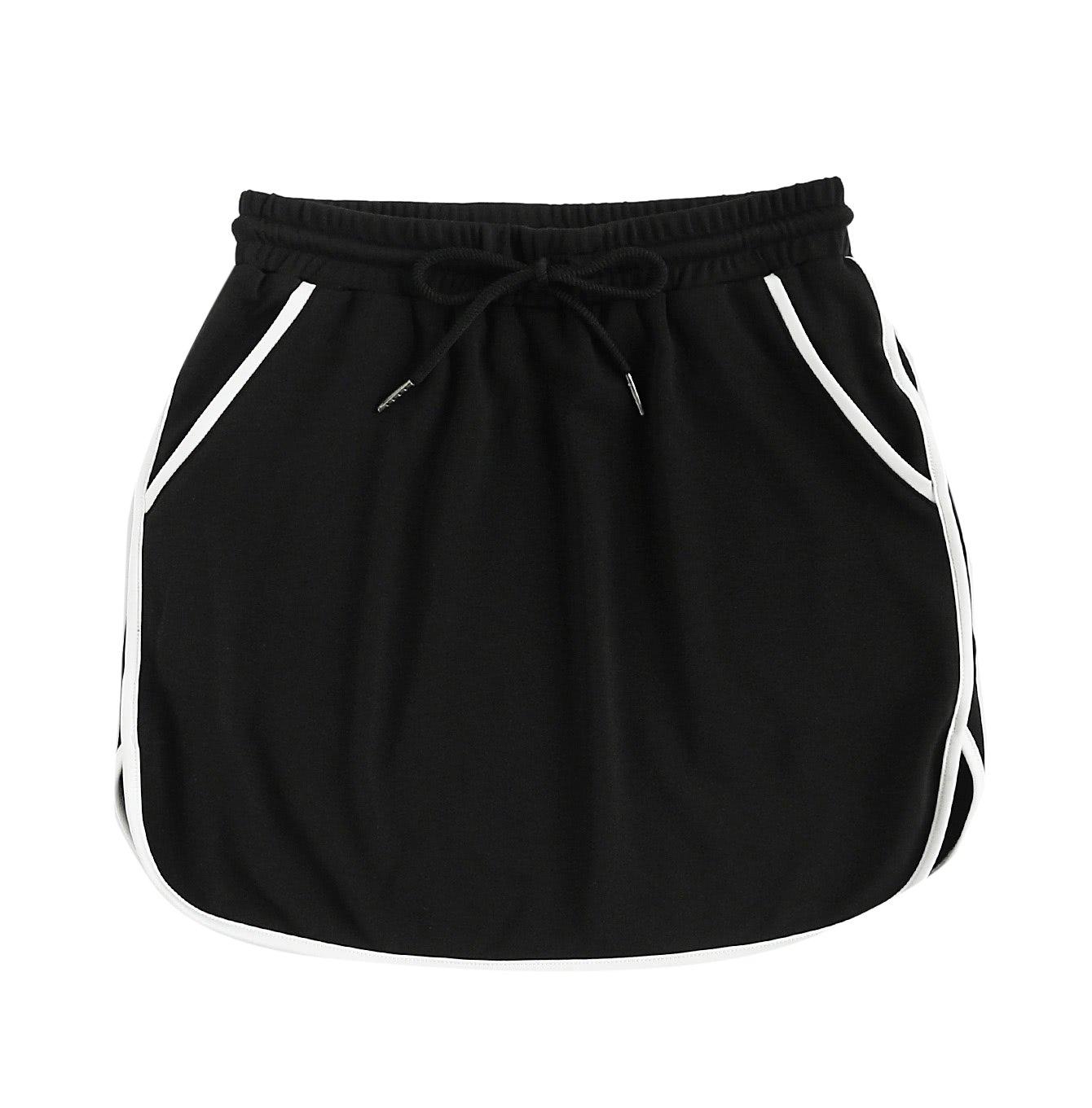 SweatyRocks Women's Summer Athletic Skirt with Drawstring Waist and Pockets Black XS