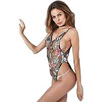 Lencería sexy para mujer sin mangas con cuello en v floral bordado Ver a través de malla mono de una pieza (L)