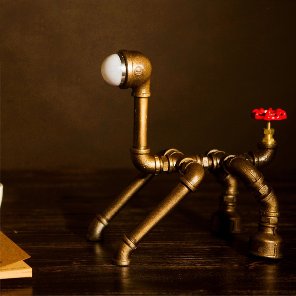 MKLOT Industrial Creative Decor Robot Dog Table Lamp Water Pipe Desk Lamp W10.24'' x H12.99'' with Dimmer Switch Use 1 E26/E27 Light Bulb in Antique Copper Finish for Cafe Bar Bedroom - Cool Light