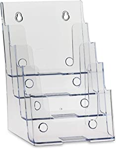 "Dazzling Displays Clear Acrylic 4-Tier Brochure Holder for 6""W x 9""H - Half-Page Material (1)"