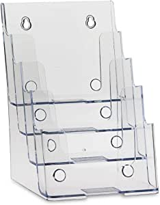"""Dazzling Displays Clear Acrylic 4-Tier Brochure Holder for 6""""W x 9""""H - Half-Page Material (1)"""