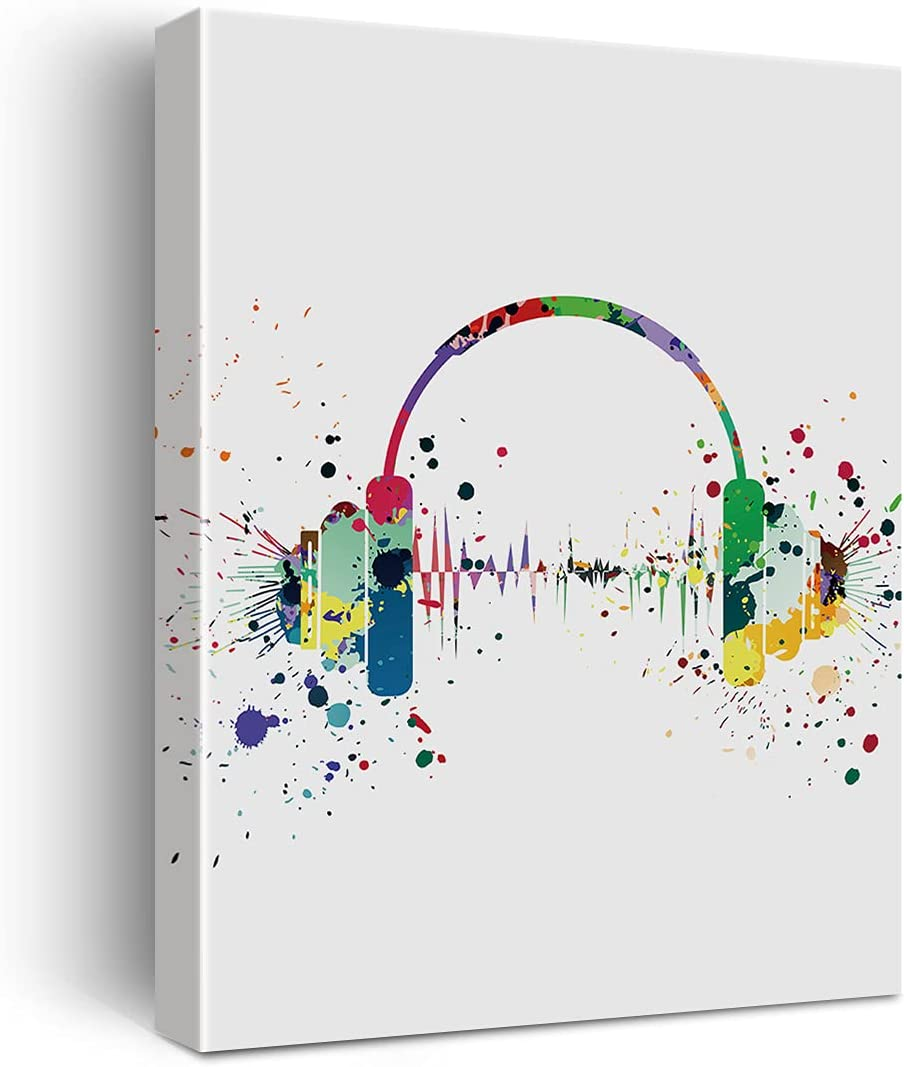 Headphone Watercolor Poster Canvas Wall Art for Home/Bedroom/Nursery Decor - Music Headset Canvas Print Wall Art Painting Ready to Hang Music Lovers Gifts - Easel & Hanging Hook 12x15 Inch