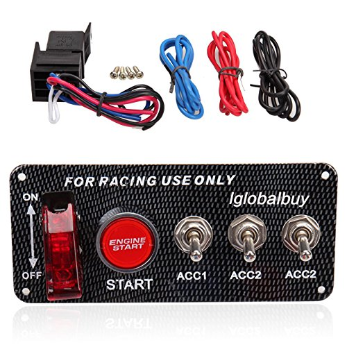 Iglobalbuy 12V Racing Car Engine Start Push Button Ignition Switch Panel 5 in 1 LED Toggle - Cars Parts