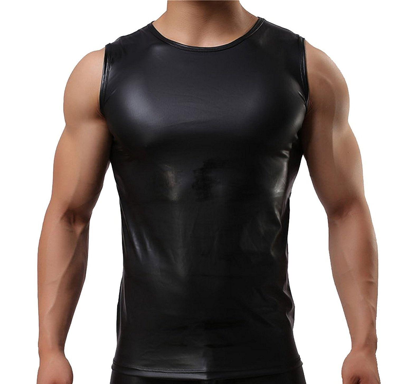 Mendove Men's Sports Elastic Paint Faux Leather Sexy Tight Vest Tank Tops