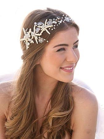 Simsly Bride Seestern Hochzeit Haar Ranken Silber Stirnband