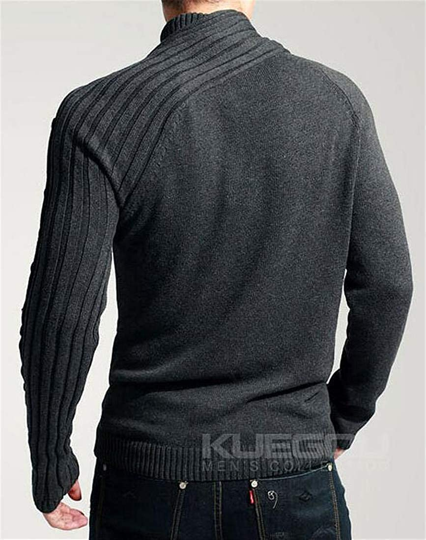 XTX Men Casual Knit Crew Neck Button Pullover Pure Color Sweaters