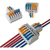 Aiqeer 12 Piezas KV426 Palanca Tuerca Cable Conectores Set, 2 in 6 out Conector Conductor Compacto, Bilateral Rápido…