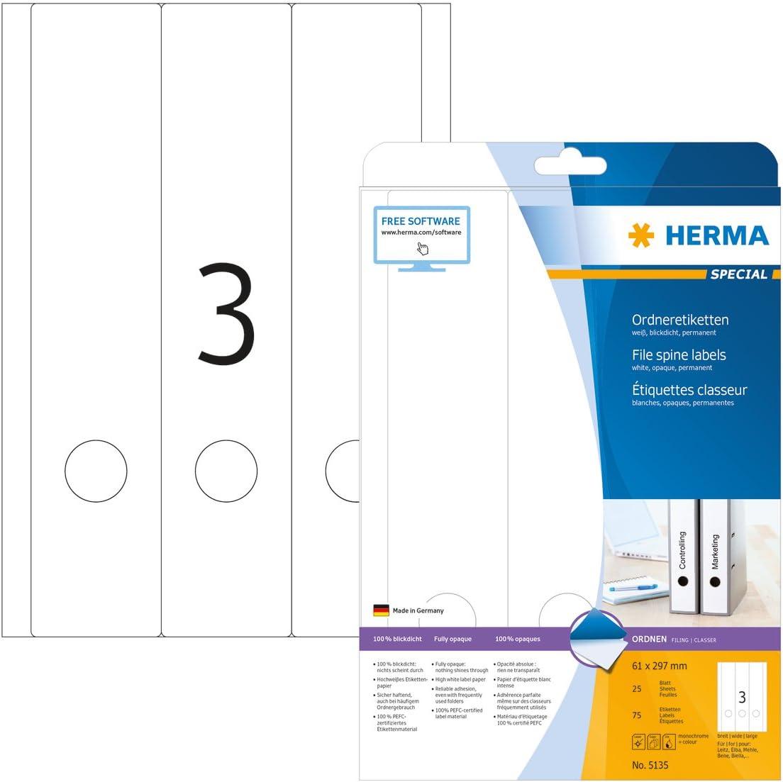 Herma 5135 /Étiquettes classeur 61 x 297 A4 75 St Blanc