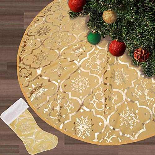 FLASH WORLD Christmas Tree Skirt,48 inches Large Xmas Tree Skirts with Snowy Pattern for Christmas Tree Decorations (Yellow) (Skirt And Red Gold Christmas Tree)