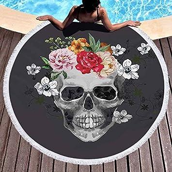 GSYAZTT Toallas de Microfibra de Flores Blancas y Negras Toallas de Playa Redondas 3D Impresas Toallas