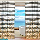 Black and White Striped Falling Stars Sheer Curtain for Living Room Bedroom,55 x 84 Inches Long,Gold,Window Treatments,Rod Pocket,Polyester Fabric,Set of 2 Panels