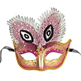 AoLice Christmas Decorative Mask Painted Peacock Feather Mask Dance Party Bar Mask for Women