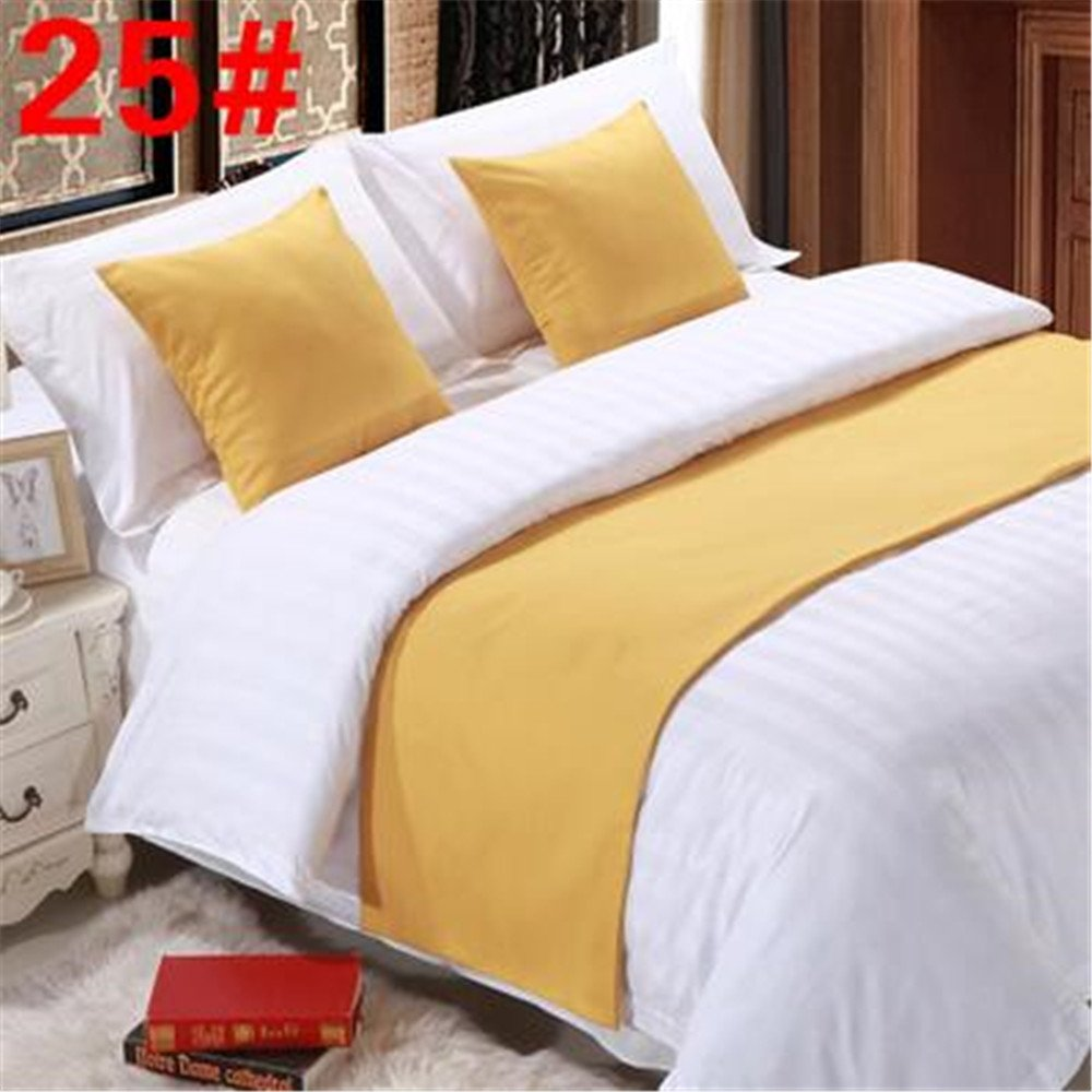 YIH Bed Runner Yellow 3 Pcs Set, Luxury Bedding Scarf Pad Decorative Table Runner Bed Protector Slip Cover for Pets, 1 Bed Runner + 2 Cushion Cover, 102 Inches By 19 Inches CHINA